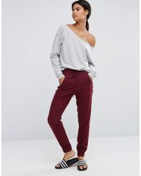 ASOS - Red Woven Casual Trousers With Zip Pockets - Lyst