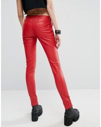 Tripp Nyc - Red Faux Leather Pant - Lyst
