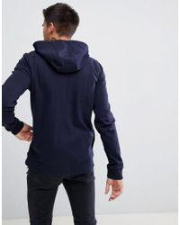 HUGO - Blue Reverse Logo Zip Through Hoodie Sweat In Navy for Men - Lyst