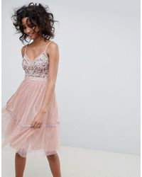 Needle & Thread - Pink Embroidered Tulle Midi Dress With Cami Straps In Vintage Rose - Lyst
