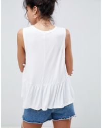 ASOS - White Design Sleeveless Swing Top With Dropped Armhole And Pephem - Lyst