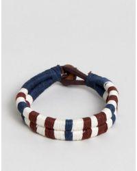 Jack & Jones - Blue Cotton Leather Woven Bracelet for Men - Lyst