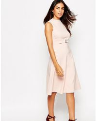 ASOS Gray Midi Dress With Clean High Neck