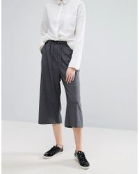 Monki - Gray Culotte Trousers - Lyst