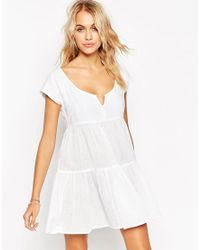 ASOS | White Tiered Smock Beach Dress | Lyst