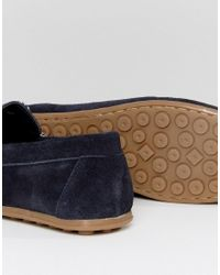 ASOS - Blue Driving Shoes In Navy Suede With Contrast Lace for Men - Lyst