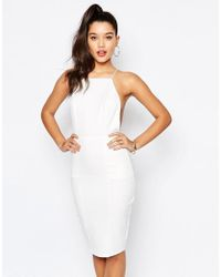 Missguided - White Cami Cross Back Bodycon Dress - Lyst