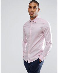 Reiss - Pink Slim Smart Shirt In Melange for Men - Lyst
