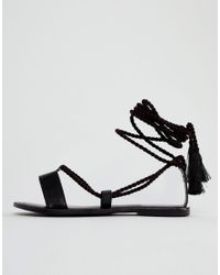 022d6db4a8fc0 Lyst - ASOS Asos Fire Fire Leather Tie Leg Sandals in Black