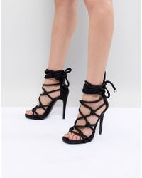 51f67bd20b5125 Steve Madden Dream Rope Tie Up Heeled Sandals in Black - Lyst