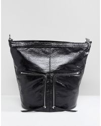 AllSaints - Black Fetch Backpack With Zip Detail - Lyst