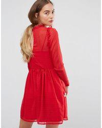 ASOS - Pretty Embroidered Mini Skater Dress On Dobby - Lyst