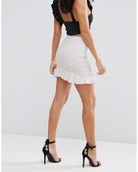 AX Paris - Gray Suede Frill Hem Mini Skirt - Lyst