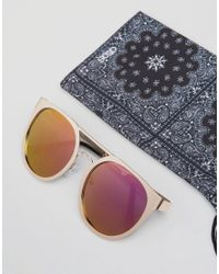 ASOS - Metallic Round Sunglasses In Rose Gold With Pink Mirror Lens for Men - Lyst