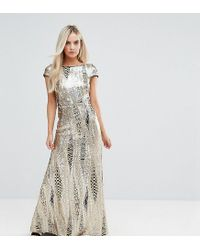 TFNC London - Metallic Allover Sequin Maxi Dress With Fishtail - Lyst