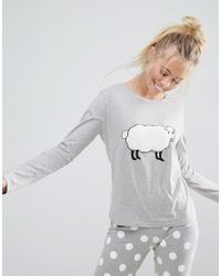 ASOS - Gray Fluffy Sheep Long Sleeve Tee & Legging Set - Lyst