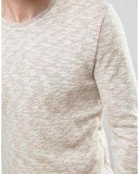 SELECTED - Natural Knitted Sweater With Melange Detail for Men - Lyst