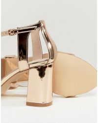 Carvela Kurt Geiger - Metallic Rose Gold Heeled Sandals - Lyst