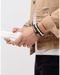 Icon Brand - Cream & Black Beaded & Cord Bracelets In 3 Pack for Men - Lyst