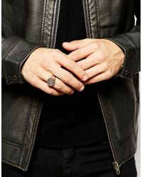 ASOS - Metallic Sterling Silver Ring With Crest for Men - Lyst