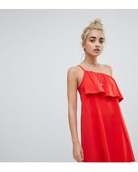3857dca129 ASOS Asos Design Petite One Shoulder Sundress With Ruffle in Red - Lyst