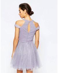 Little Mistress - Purple Cold Shoulder Embellished Prom Dress - Lyst