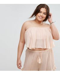 ASOS - Pink Asos Design Curve Cheesecloth Flutter Sleeve Co-ord Top - Lyst