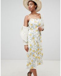 ASOS - Multicolor Asos Design Tall Button Through Linen Midi Sundress In Floral Print - Lyst