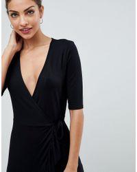 ASOS DESIGN - Black Asos Wrap Front Tea Dress With Frill - Lyst