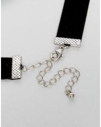 ASOS - Black Choker In Velvet With Safety Pin Charm for Men - Lyst