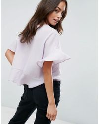 ASOS - Purple Tie Front Blouse With Frill Sleeve - Lyst
