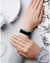 ASOS - Black Wrapped Stone Bracelet - Lyst