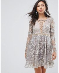 True Decadence - Metallic All Over Embroidered Mini Skater Dress With Lace Up Plunge Front - Lyst