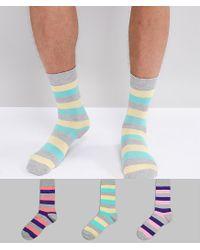 ASOS - Multicolor Socks In Retro Stripes 3 Pack for Men - Lyst