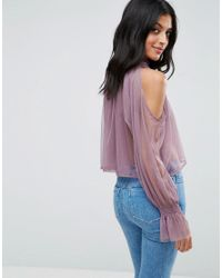 ASOS - Purple Cold Shoulder Top In Mesh With High Neck & Puff Sleeve - Lyst