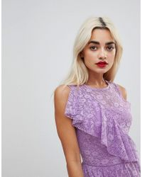 ASOS - Purple Ruffle Detail Lace Skater Dress - Lyst