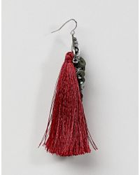 Stradivarius - Red Pink Earrings With Stones And Tassels - Lyst