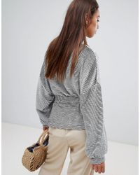 French Connection - Gray Textured Belted Sweat Top - Lyst