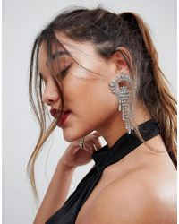 ASOS - Metallic Statement Crystal Fan Drop Earrings - Lyst