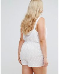 ASOS - White Exclusive Spot Playsuit With Pom Poms - Lyst