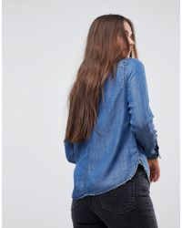 ONLY - Blue Fitted Denim Shirt - Lyst