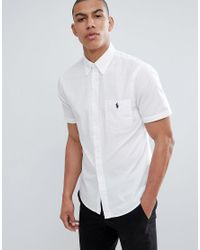 f6a31da4908 Polo Ralph Lauren Slim Fit Short Sleeve Seersucker Shirt With Player ...
