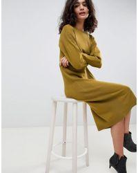 b7048148fe ASOS Sweater Dress In Fine Knit in Green - Lyst
