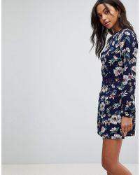AX Paris Blue Floral Shift Dress With Crochet