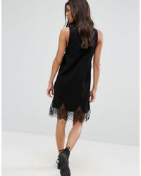 ASOS | Black Sleeveless T-shirt Dress With Lace Inserts | Lyst