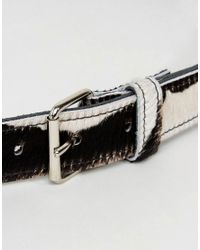 Retro Luxe London - Black Retro Luxe Cow Print Hip And Waist Leather Belt - Lyst