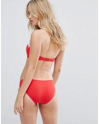 Seafolly - Red White Trim Bandeau Bustier Bikini Top - Lyst