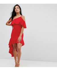 ASOS - Red High Low Ruffle Bodycon Mini Dress - Lyst