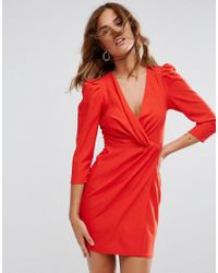 ASOS - Red Wrap Front Mini Dress - Lyst