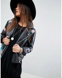 ASOS - Black Premium Leather Jacket With Tattoo Rose Print And Studs - Lyst